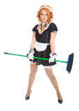 Housemaid with broom Royalty Free Stock Images