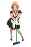 Housemaid com vassoura Foto de Stock Royalty Free
