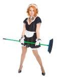 Housemaid com vassoura Imagens de Stock Royalty Free