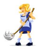 Housemaid do personagem de banda desenhada com vassoura Imagem de Stock