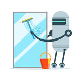 Housemaid robot character cleaning glass window with a squeegee and bucket vector Illustration. Isolated on a white background Royalty Free Stock Images