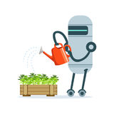 Housemaid robot character with watering can feeding plants vector Illustration Stock Photography