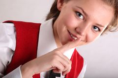 Housemaid in uniform hooshing Stock Photos