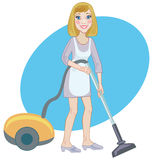 Housemaid With A Vacuum Cleaner Stock Image