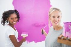Housemates de sourire peignant le rose de mur photographie stock libre de droits