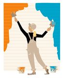 Housepainter. Girl-housepainter paints wall of house in two colors Stock Illustration