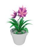 Houseplant rose pourpré d'isolement dans le flowerpot illustration de vecteur