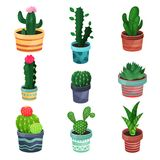 Houseplant set, various plants and flowers in pots vector illustrations. Isolated on a white background vector illustration