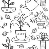 Seamless line art houseplant pattern stock illustration