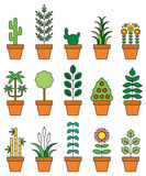 Houseplants icon set. Set of colorful houseplants in terra cotta pots illustrated on white Royalty Free Stock Photos