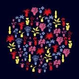 Houseplants och blommor för färg hem- i krukasymboler Royaltyfria Bilder