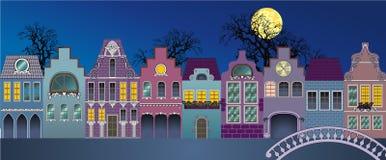 Houses 1. Fantasie of medieval houses (nite Stock Photos