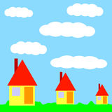 Houses. In the meadow - buildings royalty free illustration