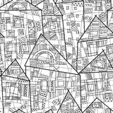 Vector seamless pattern with stylized houses in black and white royalty free illustration
