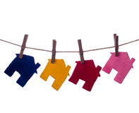 Houses. Colour Houses on the rope isolated Vector Illustration