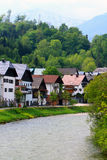 Houses. By rive side,Austria,Europe Stock Photos