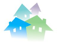Houses. Colorful houses on white. Image symbolizes growing real estate market Royalty Free Illustration