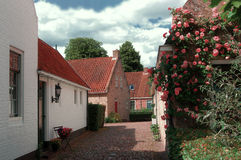 Houses in 18th Century Style. In The North of The Netherlands a small village has recently been rebuilt, just like it was in the year 1750. The picture shows royalty free stock images
