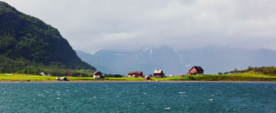 Houses. A row of houses by a fjord in Norway royalty free stock photo