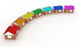 The houses. Illustration of seven houses with colour of a rainbow Stock Images