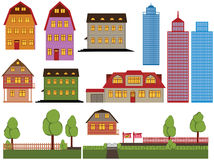 Houses. Set of family houses and skyscrapers Royalty Free Illustration