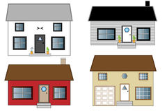 Houses. Four different houses, two ranch houses and two that are two stories. They are a variety of colors Stock Photos