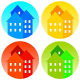 Houses. Colorful icons of houses, neighborhoods or towns Stock Illustration