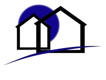 Houses. Real estate logo with blue moon and houses Royalty Free Stock Photos