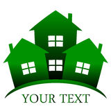 Houses. Vector icon of green Stock Image