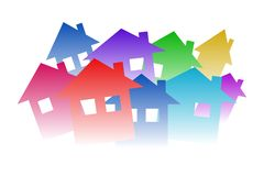 Houses. Colorful houses on white background. Vector available Stock Photography