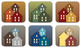 Houses. An set of multi-colored house icons Royalty Free Stock Photography
