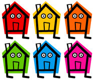 Houses. House icons in several bright colors (real estate, home renovation concept Royalty Free Stock Photography