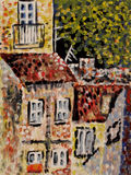 Houses. Abstract painting in pointillists manner Stock Photos