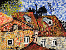 Houses. Abstract painting in pointillists manner Royalty Free Stock Photography
