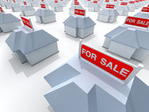 Houses. The real estate crisis . 3D rendered illustration Royalty Free Stock Image