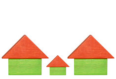 Houses. Abstract houses made from childrens building blocks isolated over white stock illustration