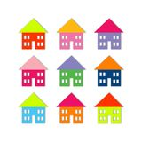 Houses. Nine bright colored houses, isolated on white, soft shadow