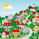 Houses. The image of a rural small house in a sunny day Stock Images