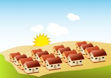 Houses. A group of houses laid symmetrically stock illustration