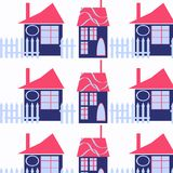 Houses abstract funny city background,  design image. Picture vector Royalty Free Stock Photography