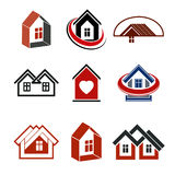 Houses abstract icons. Set of simple buildings, architecture the Royalty Free Stock Photo