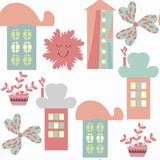 Houses abstract modern city seamless pattern. It is located in s. Watch menu,  image stock illustration