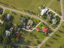 Houses, aerial view. Aerial view of neighborhood and houses royalty free stock photography