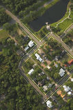 Houses, aerial view. Aerial view of neighborhood and houses Royalty Free Stock Images