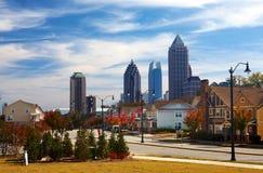 Houses against the midtown. Atlanta, GA. USA. Royalty Free Stock Photos
