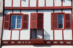 Houses of Ainhoa. In the Pirenees atlantiques, Aquitaine, France Royalty Free Stock Image