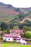 Houses Ainhoa fields. In France with the mountains are in the background. It is a vertical image on a cloudy day stock photos
