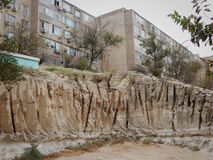 Houses in Aktau on the rocks royalty free stock images