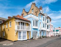 Houses in Aldeburgh, Suffolk, England. Colorful Houses in Aldeburgh, Suffolk, England, United Kingdom royalty free stock images