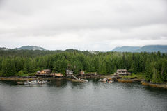 Houses along Inside Passage, Alaska stock photography